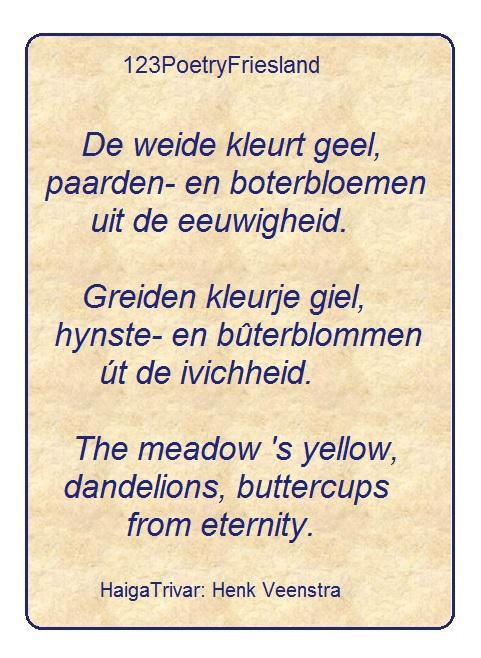 HT De weide kleurt geel.